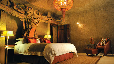 Fascinating concepts in rooms at Sabi Sabi Earth Lodge.