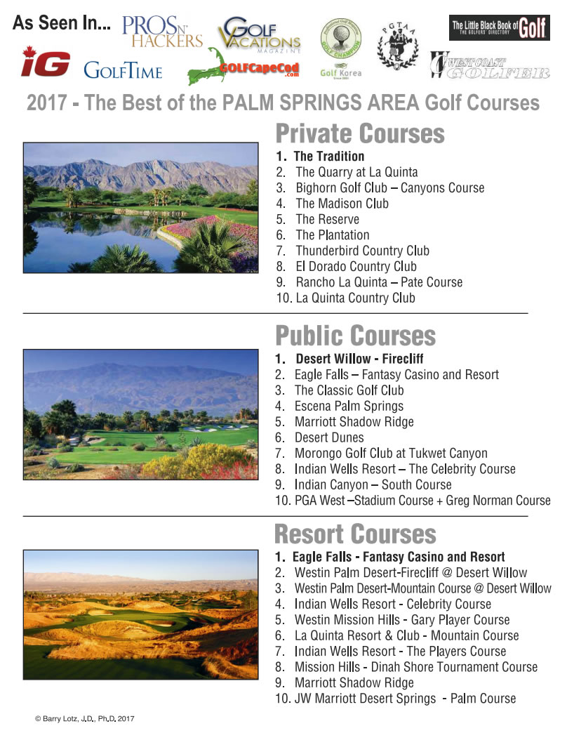 2017 - The Best of the PALM SPRINGS AREA Golf Courses